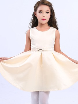 Ericdress Solid Color Pleated Sleeveless Girls Princess Dress