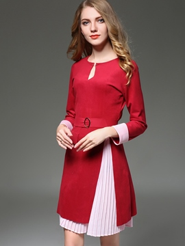Ericdress Asymmetric Pleated Scoop Woolen Coat Skirt Suit