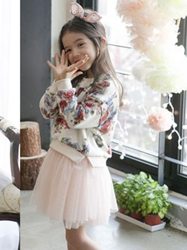 Ericdress Double-Layer Floral Long Sleeve Girls Dress