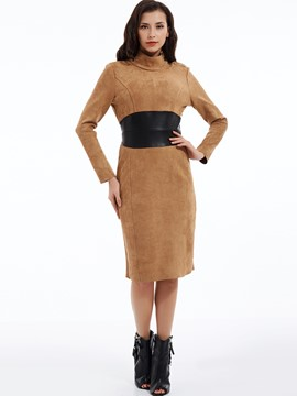 Ericdress Plain Mid-Waist Turtleneck Patchwork Bodycon Dress