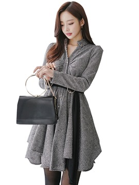 Ericdress Lapel Single-Breasted Plaid Asymmetrical Casual Dress