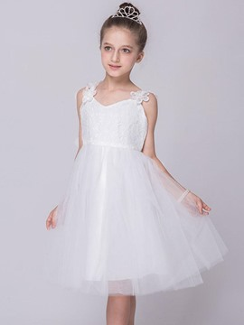 Ericdress Lace White Spaghetti Strap Mesh Girls Dress
