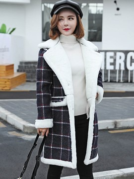 Ericdress Straight Plaid Thick Coat