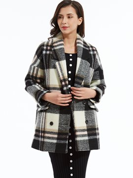 Ericdress Notched Lapel Double-Breasted Plaid Coat