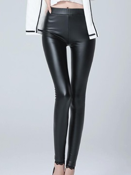 Ericdress Faux Leather Fleece Patchwork Leggings Pants