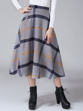 Ericdress Plaid Print Pocket Expansion Skirt