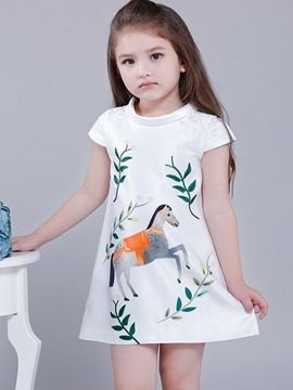 Ericdress Horse Printed Sleeveless A-Line Girls Dress