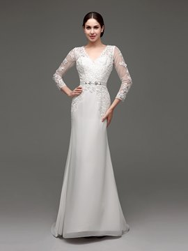 Ericdress Elegant V Neck Appliques Beaded Sheath Wedding Dress With Sleeves