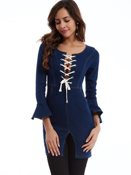 Ericdress Slim Flare Sleeves Lace-Up T-shirt