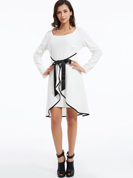Ericdress Scoop Falbala Patchwork Belt A Line Dress