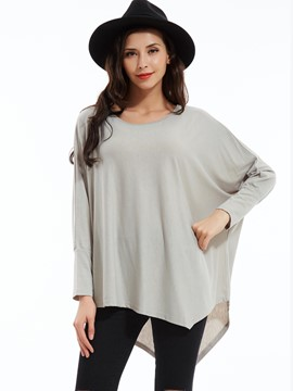 Ericdress Plain Round Neck Asymmetric T-shirt