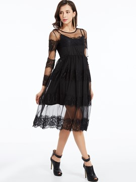 Ericdress Mesh See-Through Patchwork Mid-Calf Lace Dress