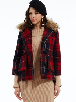 Ericdress Fur Lapel Double-Breasted Plaid Coat