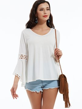 Ericdress V-Neck Flare Sleeves Hollow Blouse