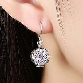 Ericdress 925 Sterling Silver Diamante Flower Earrings