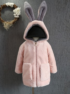 Ericdress Cute Rabbit Warm Thick Girls Trench Coat