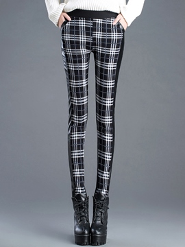 Ericdress Plaid Print Patchwork Leggings Pants