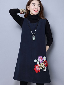 Ericdress Ethnic Color Block Turtleneck Embroidery Appliques Pocket Casual Dress