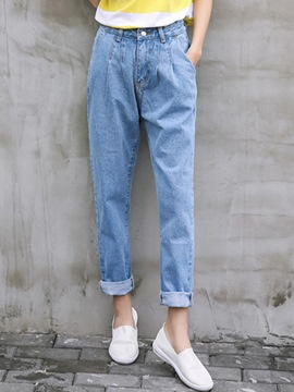 Ericdress Solid Color Washable Denim Loose Harem Pants