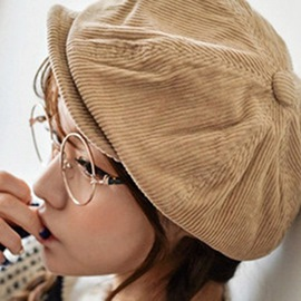 Ericdress Retro Solid Color Corduroy Newsboy Cap