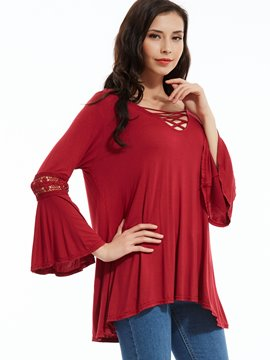 Ericdress V-Neck Flare Sleeves Patchwork T-Shirt