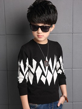 Ericdress Geometric Color Block Boys Sweater
