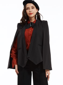 Plain Shawl Collar Batwing Sleeves Blazer