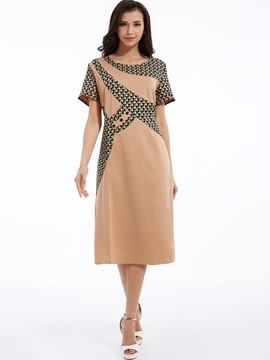 Color Block Patchwork Straight Day Dress