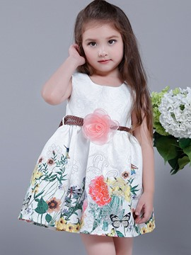 Ericdress Floral Printed Sleeveless with Belt Girls Dress