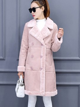Ericdress Straight Double-Breasted Solid Color Lady Coat