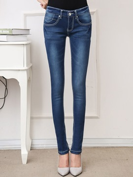 Ericdress Low-Waist Patchwork Washable Skinny Denim Jeans