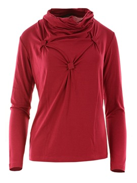 Ericdress Red Square Knot Detail Heap Neck T-Shirt