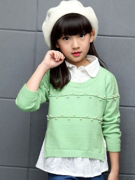 Ericdress Double-Layer Bead Girls Sweater