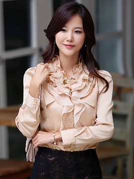 Ericdress Slim Solid Color Frill Lady Blouse