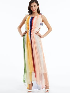 Ericdress Color Block Tassel Decorated Maxi Dress