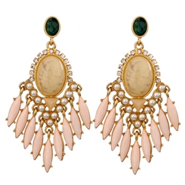 Ericdress Artificial Gemstone Inlaid Tassels Earrings