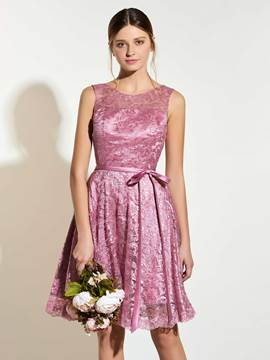 Ericdress Charming Scoop A Line Lace Knee Length Bridesmaid Dress
