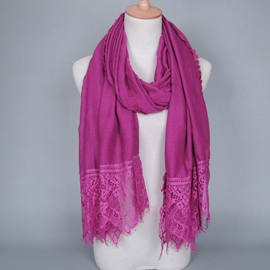 Ericdress Pure Color Lace Patchwork Cotton Scarf
