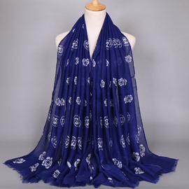 Ericdress White Camellia Printed Blue Tassels Scarf