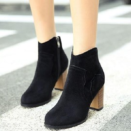 Ericdress Suede Round Toe Side Zip Martin Boots