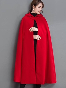 Ericdress Solid Color Loose Hooded Cape