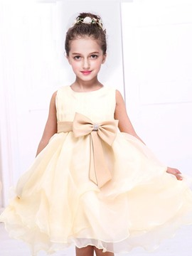 Ericdress Solid Color Bow Girls Tutu Dress