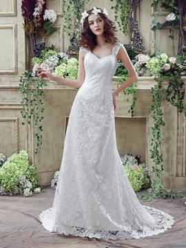 Ericdress Straps Sweetheart A Line Lace Wedding Dress