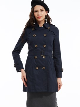 Ericdress Plain Lapel Slim Trench Coat