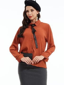 Slim Lapel Single-Breasted Blouse