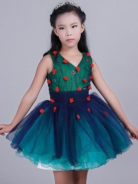 Ericdress Floral Lace Sleeveless Girls Tutu Dress