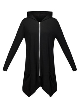 Ericdress Solid Color Zipper Straight Hoodie