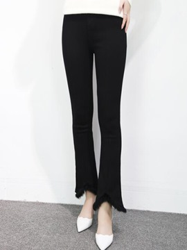 Ericdress Asymmetric Patchwork Slim Pants