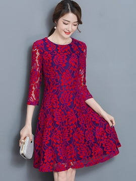 Ericdress Floral Hollow Round Collar A-Line Casual Dress