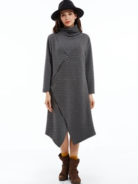 Ericdress Zipper Plain Turtleneck Asymmetrical Loose Casual Dress